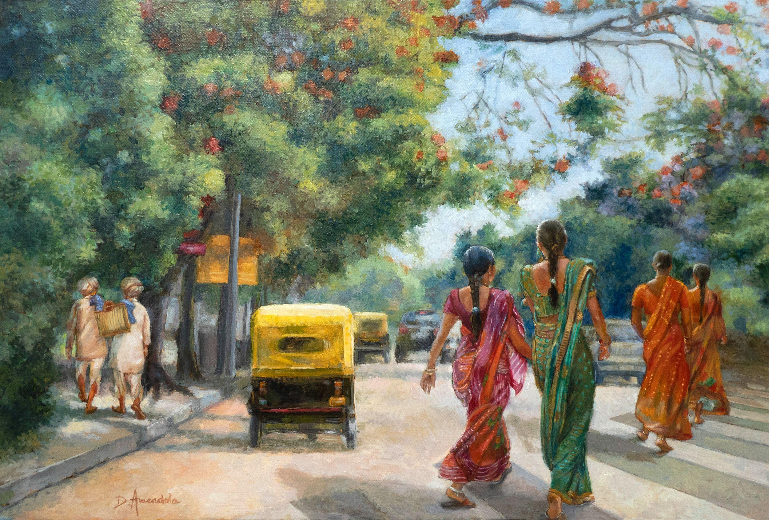 India Street Scene In Flowery Bangalore, Painting, Oil on Canvas