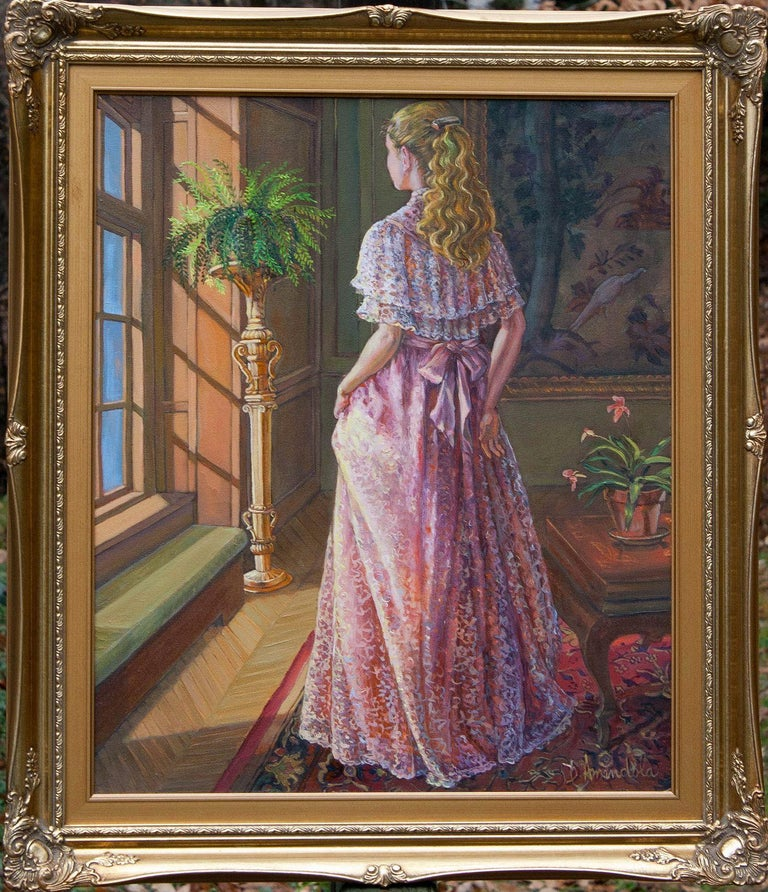 Lady Gazing Through The Window, Painting, Oil on Canvas For Sale 1
