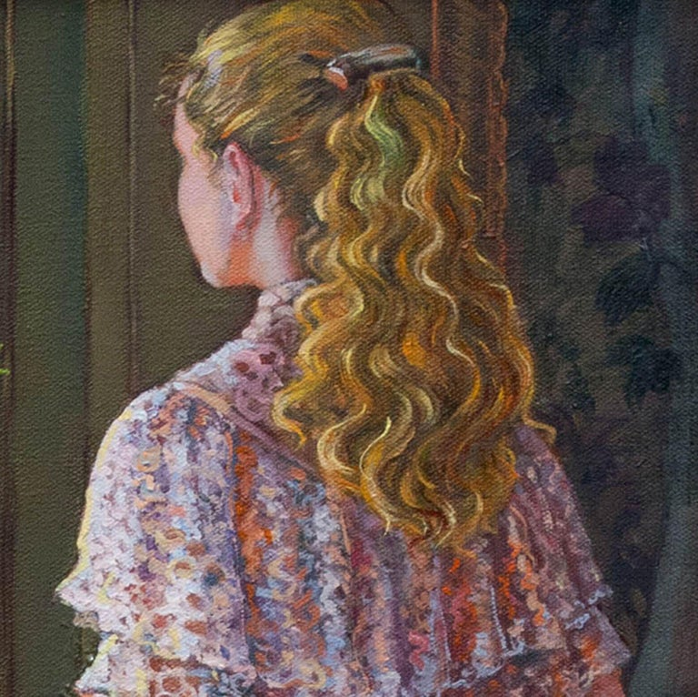 Lady Gazing Through The Window, Painting, Oil on Canvas For Sale 2
