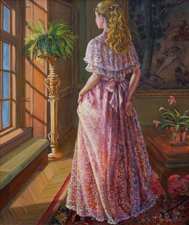 A young girl is gazing through the window. She is wearing a pink lace dress and is surrounded by luxury. This is painted from the life model. She stands, holding the front of her dress with the other hand on her back. We do not see what she