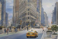 Manhattan City Scene With The Flatiron Building, Painting, Oil on Canvas
