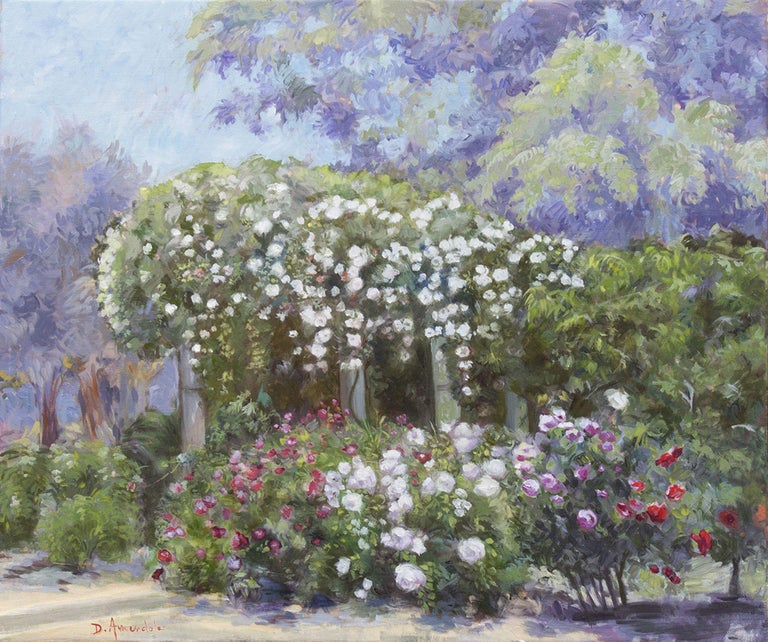 Oil painting on canvas with roses raining from bushes in a luxuriant garden. There are red roses, pink roses and white roses. It is painted in an impressionist style reminiscent of Monet. This was painted in California in a beautiful rose garden. ::
