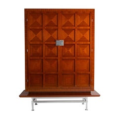 Dominique, Midcentury Mahogany and Steel Cabinet, France, circa 1955