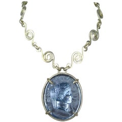 Dominique Aurientis Blue gripoix Intaglio Necklace, Never Worn -1980s