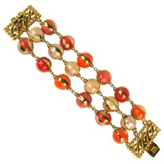 Dominique Aurientis Bracelet Orange Hand Painted 3 Strand Bead Never worn- 1980s