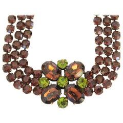 Dominique Aurientis Brown Green Rhinestone Necklace, Never Worn 1980s