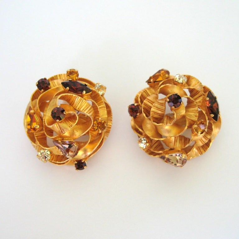Women's  Dominique Aurientis Crystal Earrings New, Never Worn 1980s  For Sale