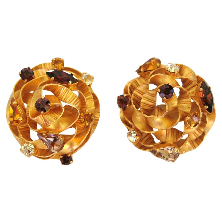 Dominique Aurientis Crystal Earrings New, Never Worn 1980s  For Sale