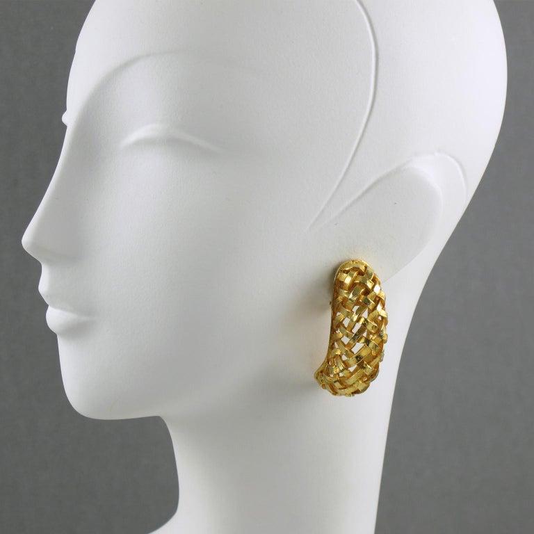 Modern Dominique Aurientis Gilt Metal Braided Clip Earrings For Sale