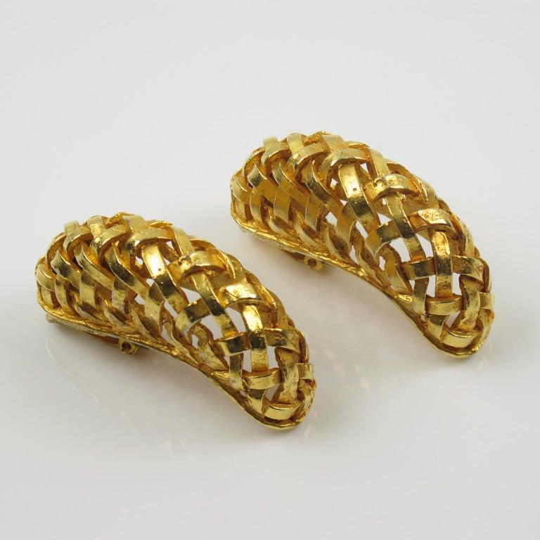 Women's or Men's Dominique Aurientis Gilt Metal Braided Clip Earrings For Sale