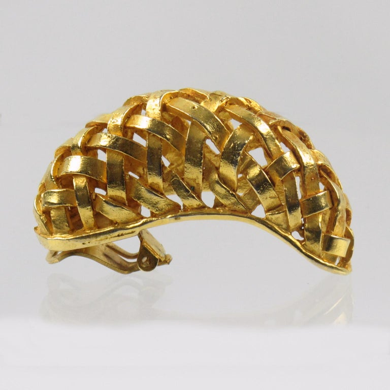 Dominique Aurientis Gilt Metal Braided Clip Earrings For Sale 2