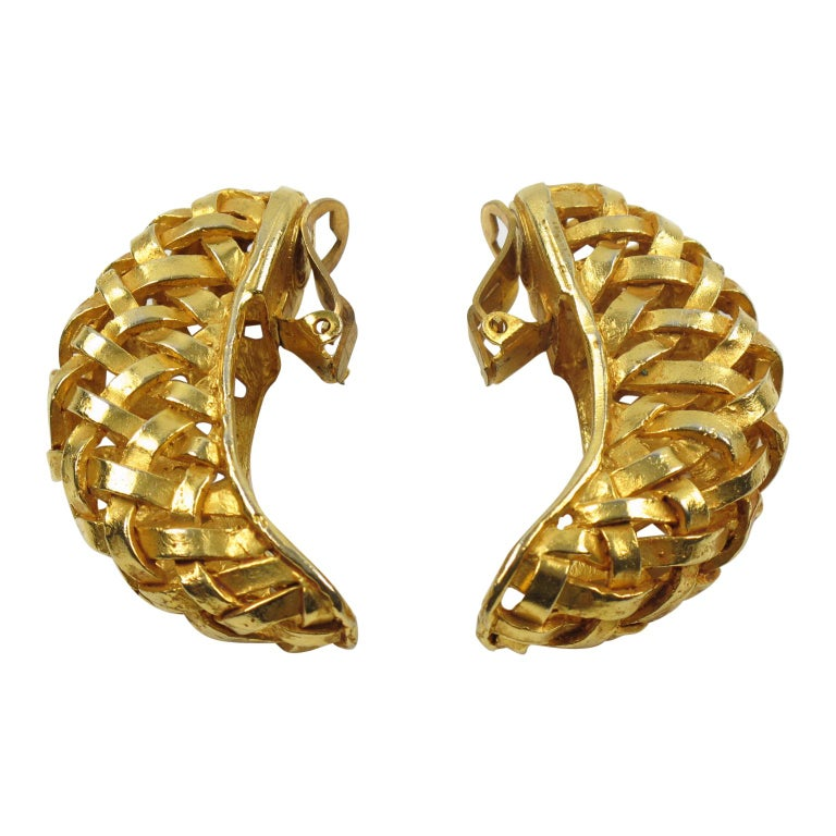 Dominique Aurientis Gilt Metal Braided Clip Earrings For Sale