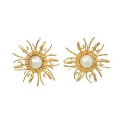 Dominique Aurientis Gilt Sunburst & Baroque Pearl Earrings, 1980's