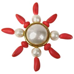 Dominique Aurientis Gold Gilt Baroque Pearl Coral Brooch, Never Worn 1980s