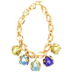 Dominique Aurientis Gold Link and Colored Resin Ball Necklace French 80's.