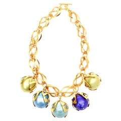 Dominique Aurientis Gold Link and Colorful Resin Ball Necklace French 80's