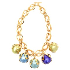 Dominique Aurientis Gold Link and Resin Ball Necklace French 80's.