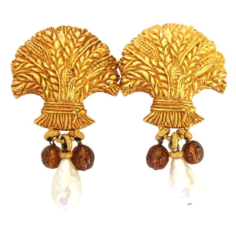 Dominique Aurientis Gripoix Glass Baroque Pearl Earrings New, Never worn 1980s For Sale