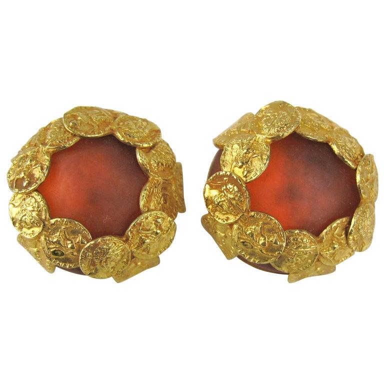 Dominique Aurientis Gripoix Glass earrings New, Never Worn 1980s For Sale