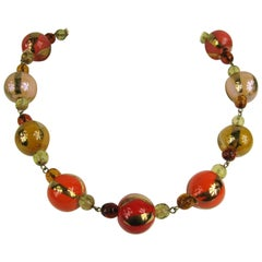 Dominique Aurientis Gripoix Orange Gold Hand Painted Necklace, Never worn- 1980s