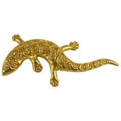 Dominique Aurientis Made France Lizard Gilt Gold Pin Brooch, Never worn 1980s