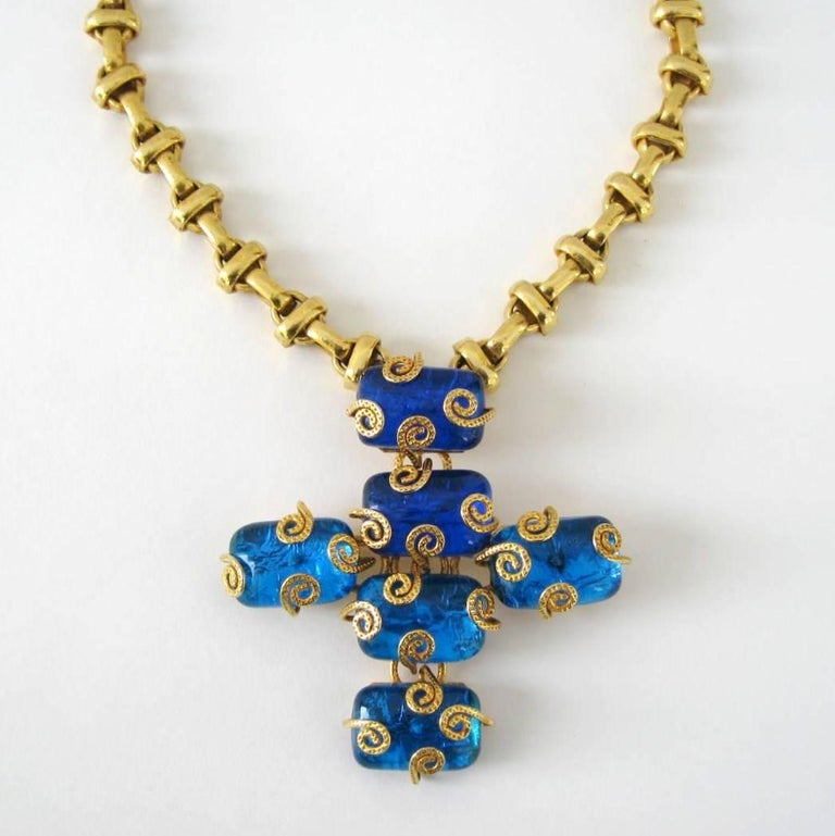 Women's or Men's 1980s Dominique Aurientis Maltese Cross Gripoix Glass Necklace / Brooch  For Sale