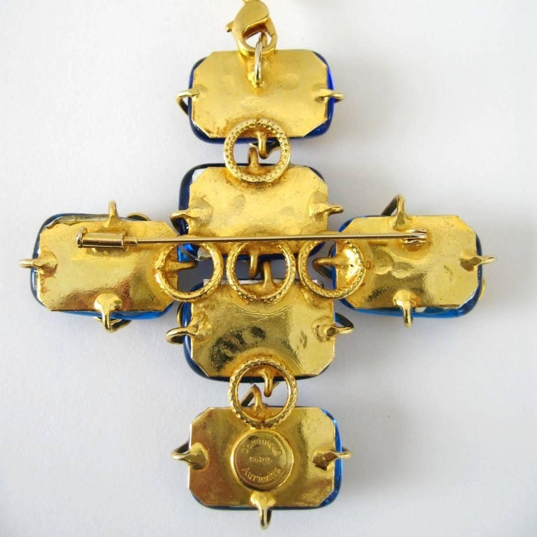1980s Dominique Aurientis Maltese Cross Gripoix Glass Necklace / Brooch  For Sale 1