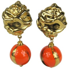 Dominique Aurientis Orange and Gold Hand Painted Earrings 1980s, New Never worn