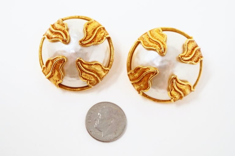 Dominique Aurientis Paris Oversized Mabe Pearl Earrings With Gilded Leaves  9