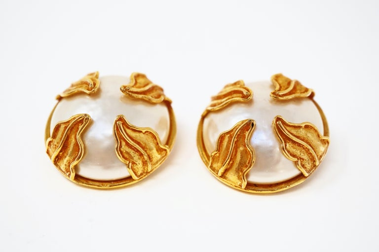 Women's Dominique Aurientis Paris Oversized Mabe Pearl Earrings With Gilded Leaves