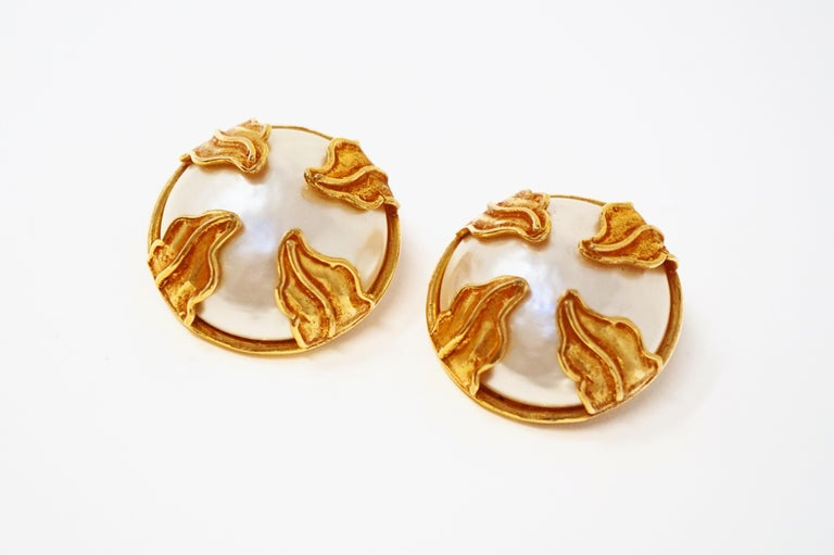 Dominique Aurientis Paris Oversized Mabe Pearl Earrings With Gilded Leaves  1