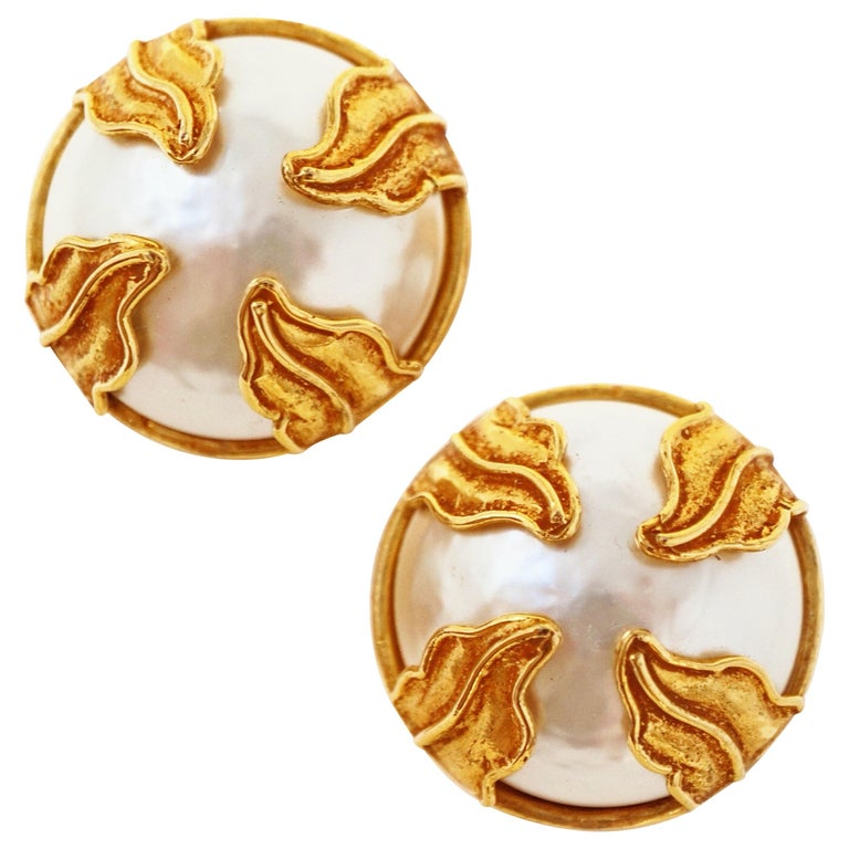 Dominique Aurientis Paris Oversized Mabe Pearl Earrings With Gilded Leaves