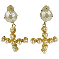 Dominique Aurientis Pearl Cross Earrings, Never Worn - 1980s