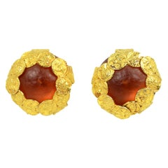 Dominique Aurientis Vintage Gripoix Glass Coin Clip On Earrings