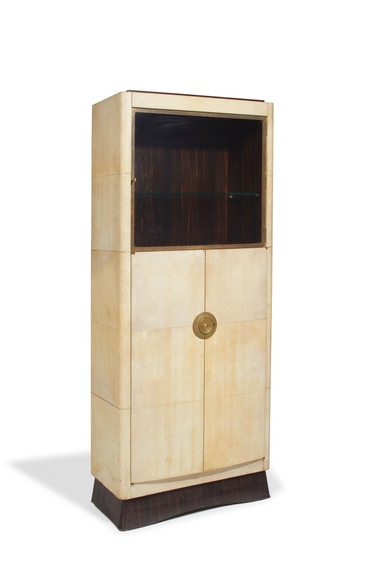 French Dominique, Cabinet, Sheathed with Natural Varnished Parchment, 1938 For Sale