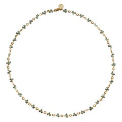 Dominique Cohen Green Sapphire Briolette Mini Buddha Link Necklace