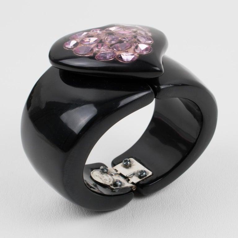 Dominique Denaive Paris Black Resin Clamper Bracelet Purple Jeweled Heart For Sale 1