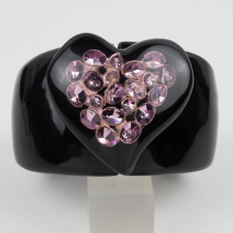 Dominique Denaive Paris Black Resin Clamper Bracelet Purple Jeweled Heart For Sale 4