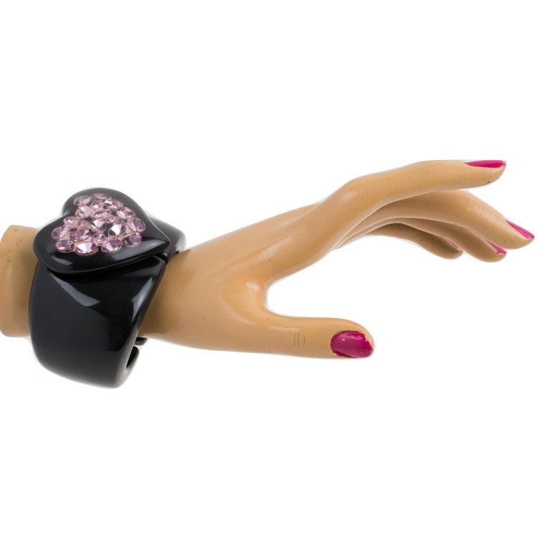 Dominique Denaive Paris Black Resin Clamper Bracelet Purple Jeweled Heart For Sale 5