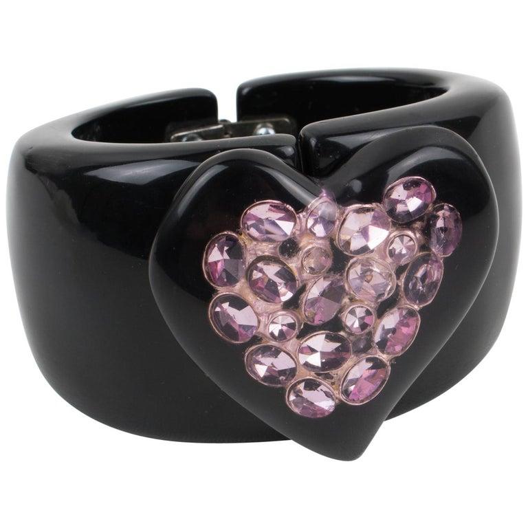 Dominique Denaive Paris Black Resin Clamper Bracelet Purple Jeweled Heart For Sale