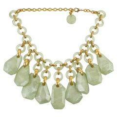 Dominique Denaive Paris Choker Necklace Almond Green Resin Charms
