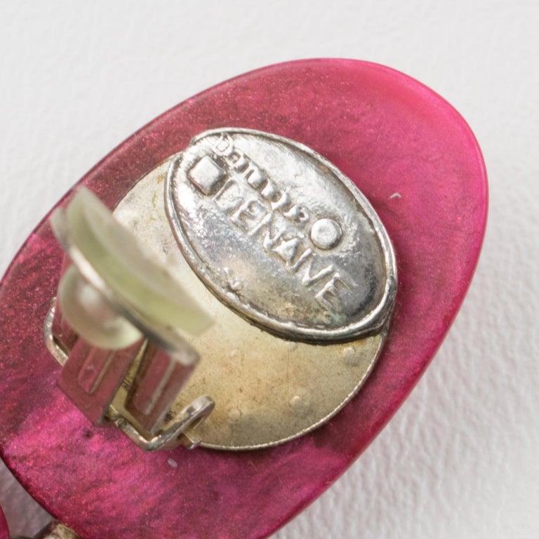 Women's or Men's Dominique Denaive Paris Hot Pink Resin Dangle Clip Earrings For Sale