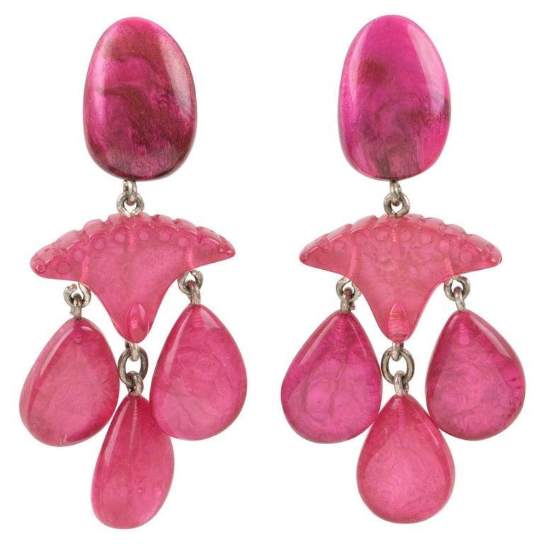 Dominique Denaive Paris Hot Pink Resin Dangle Clip Earrings For Sale
