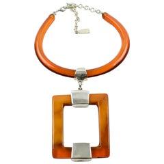 Dominique Denaive Paris Sculptural Orange Resin Modernist Pendant Necklace