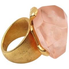Dominique Denaive Pink Resin Rock Cocktail Ring