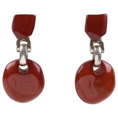 Dominique Denaive Red Resin Dangle Clip Earrings