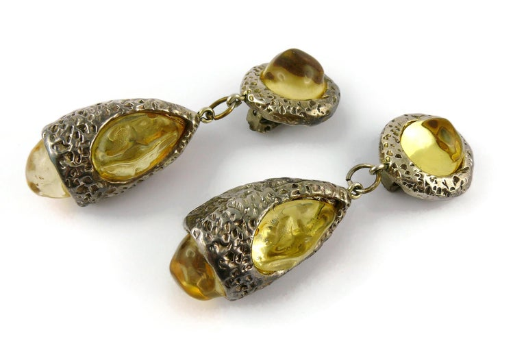 Dominique Denaive Vintage Silver Toned Yellow Resin Necklace and Earrings Set For Sale 10