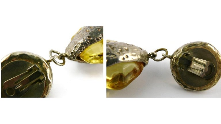 Dominique Denaive Vintage Silver Toned Yellow Resin Necklace and Earrings Set For Sale 12
