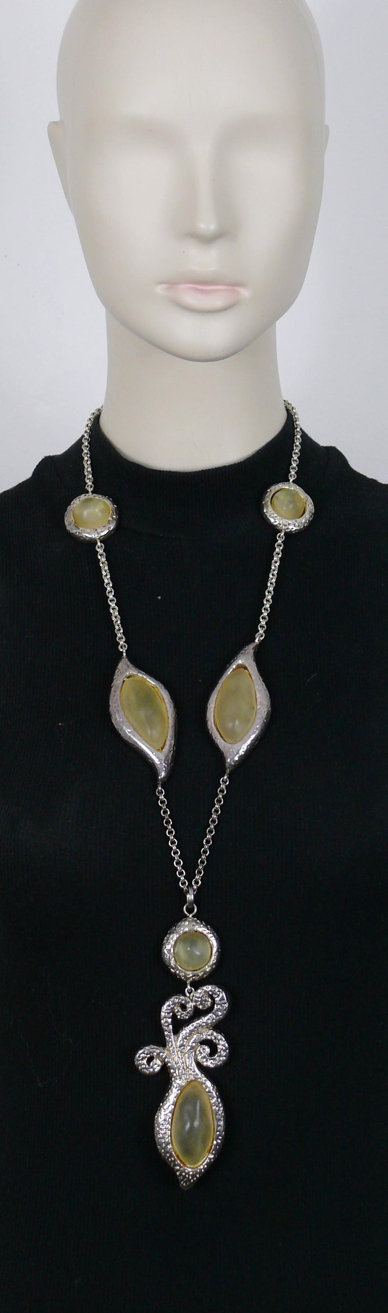 DOMINIQUE DENAIVE vintage textured silver toned necklace and dangling earrings (clip-on) set embellished with freeform shape yellow resin cabochons.  NECKLACE features a silver toned link chain, freeform shape textured links embellished with frosted