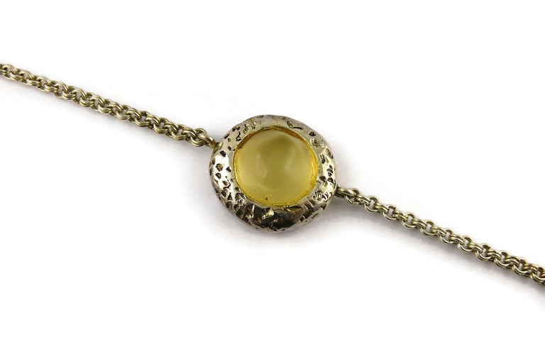 Women's Dominique Denaive Vintage Silver Toned Yellow Resin Necklace and Earrings Set For Sale